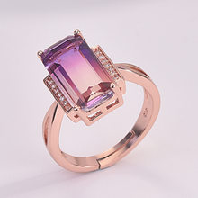 Luxury European and American Crystal Open Ring Plated 18K Rose Gold Color Amethyst Jewelry(China)