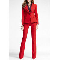 Red Office Uniform Designs Women Business Suit Double Breasted Lady Trouser Suit Tuxedos Suits For Wedding Outfit