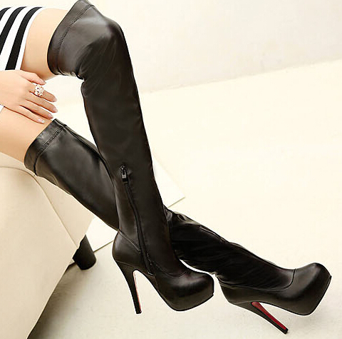 2017 New Women Autumn Winter Thin High Heel  Red Bottom Round Toe Fashion Sexy Over The Knee Boots Size 35-39 SXQ0717 in the new winter boots sexy 2016 meters white hollow pointed red bottom short boots sm70887bt k1
