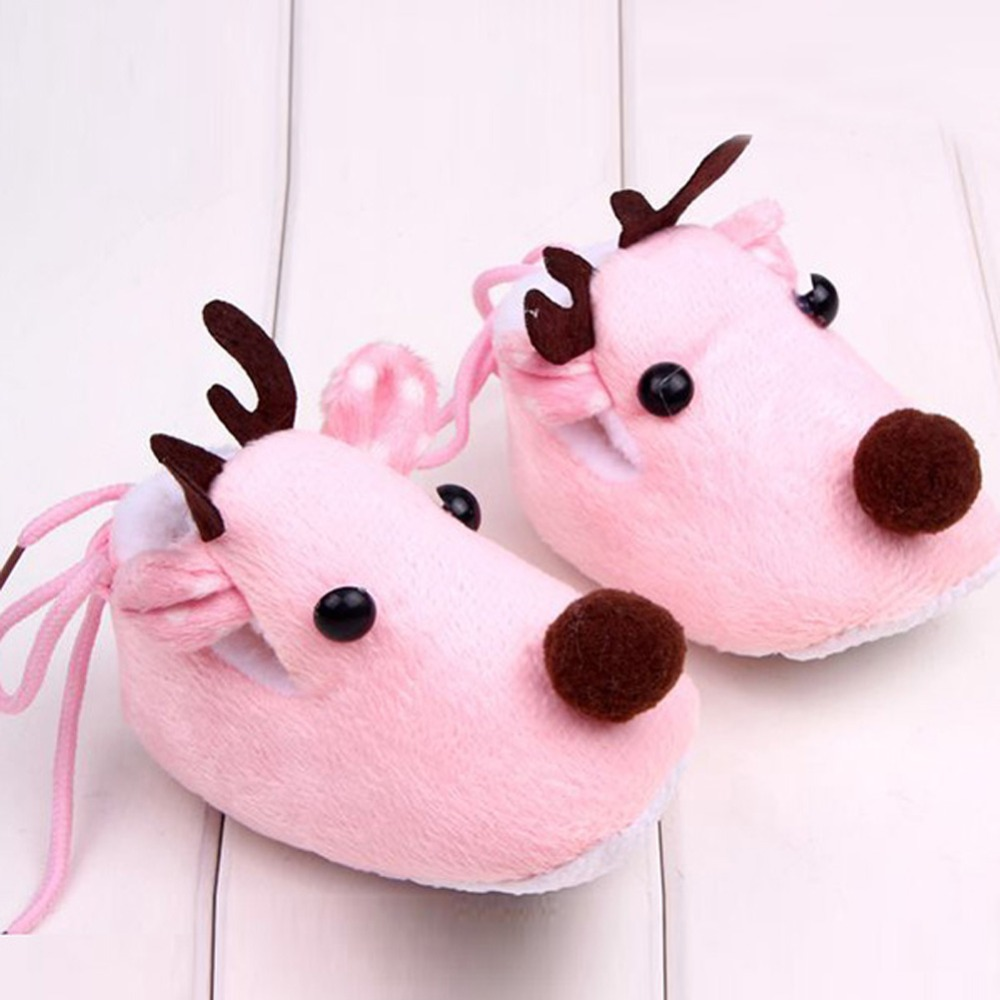 Lovely Winter Xmas Elk Deer Style Baby Girl Boys Crib Shoes Plush Fleece Shoes 0-1years