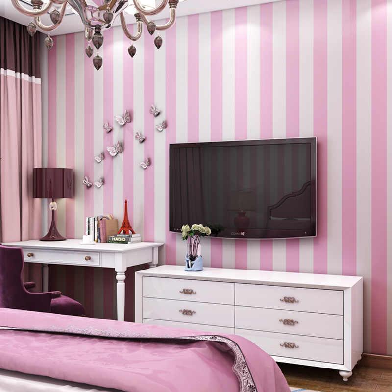 Kids Room Blue Pink Stripe Wallpaper Modern Self adhesive ...