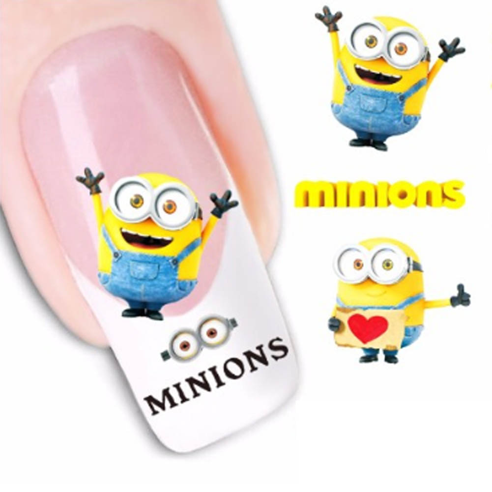 New Fashion  Cartoon Watermark Water Transfer Design Yellow Despicable Minion Tip Nail Art Sticker Nails Decal Manicure Tools sweet manicure decal accessory cartoon nail sticker for children