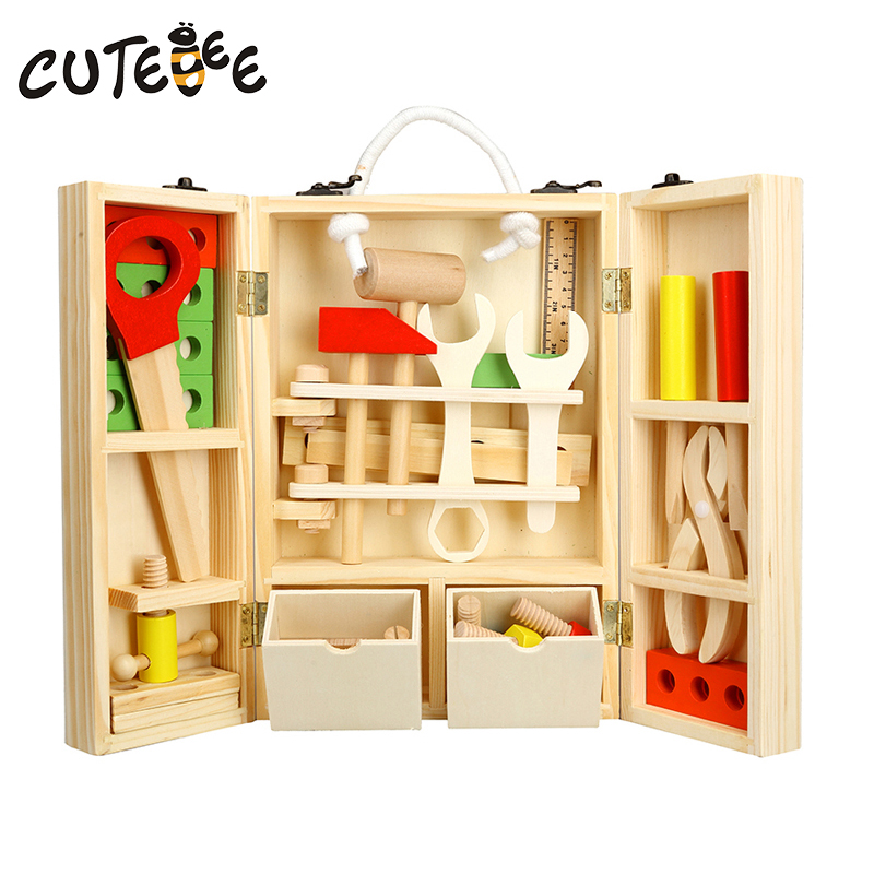 CUTEBEE New House Wooden Pretend Play Tool Montessori Educational Toys For Children Kids Toy Wood ToolBox Service Simulation cutebee pretend play furniture toys wooden dollhouse furniture miniature toy set doll house toys for children kids toy