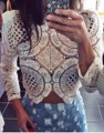 M L XL Fashion Hollow Out Long Sleeve Beige Black Blue Tops Lace Woman Summer Beachwear Flower Crochet Beauty Polos New Crop Top