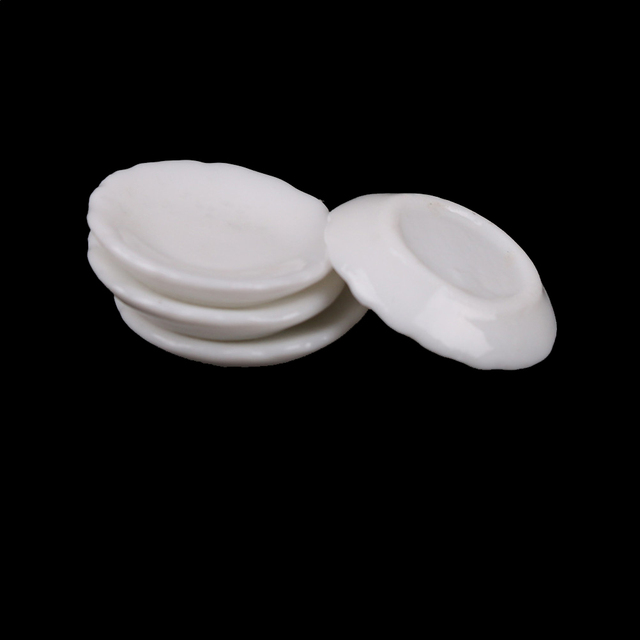 4pcs 1:12 White Round Dishes Plate Tableware Dolls House Furniture Miniatures Kitchen Toy