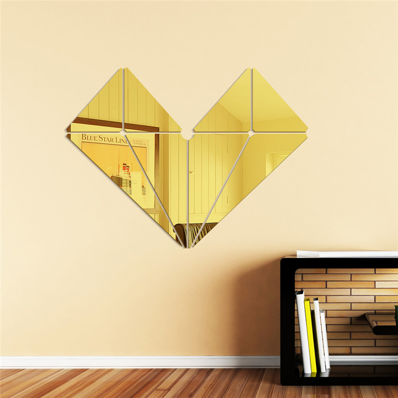 Geometric heart shape wall mirror stickers quotes Acrylic 3d wall ...