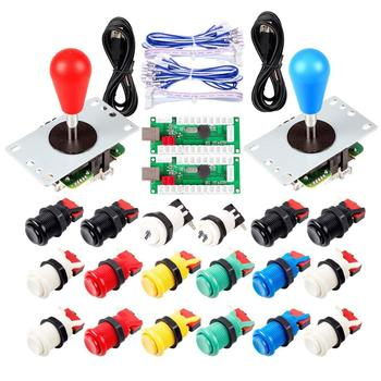 2 Player Arcade USB Encoder Ellipse Oval Joystick Hanlde + American Style Arcade Buttons for PC MAME Raspberry Pi All Windows