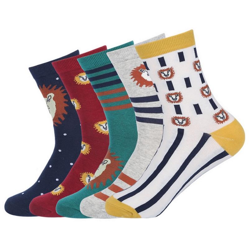 EUR39-44 men fashion lion patterns cotton socks male autumn winter creative animal socks 5pairs/lot