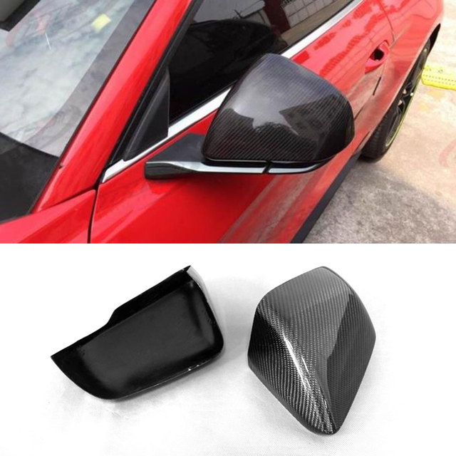 For Ford Mustang US Model Carbon Fiber Rear View Side Mirror Cover Without Tuning Single Light 2014 2015 2016 2017+ Add on style
