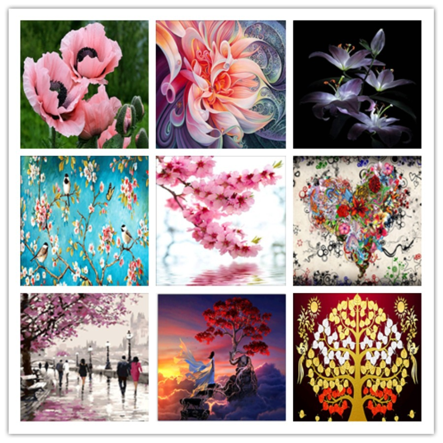 Diamond Paintings Flower 5D FULL Round  Diy Embroidery Cherry Tree Cross DLB02