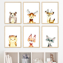 цена Deer Fox Bear Owl Raccoon Nursery Wall Art Canvas Painting Nordic Posters And Prints Wall Picture Baby Kids Room Art Print Decor