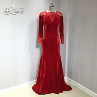 QSYYE 2018 Red Mermaid Long Prom Dresses Jewel Neck Lace Pearls Long Sleeve Velvet Evening Dress Party Gown Custom Made