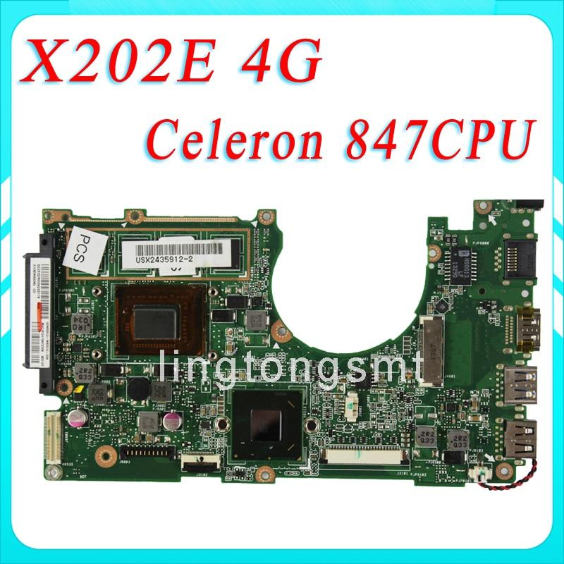 laptop motherboard VivoBook X202E X201E S200E X202E 4GB REV 2.0 60-NFQMB1700-B02 847 CPU HM76 GMA laptop motherboard for asus vivobook x202e dh31t x202e rev 2 0 60 nfqmb1700 b02 987 cpu hm70 gma hd good