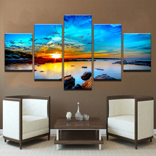 Framework Modular Pictures Vintage Home Decor 5 Panel Sunrise Seaview Paintings On Canvas Posters And Prints The Wall