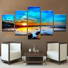 Рамки модульная фотографии Винтаж Домашний Декор 5 панель Восход Море картины на Постеры-холсты и печать на стене
