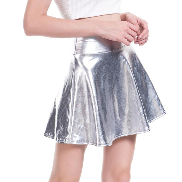 c50d30684f CUHAKCI High Waist PU Skirts Women Casual Mini Gold Skirt Faux Leather Skirt  Skater PleatedFemale Silver Black Skirt Plus Size-in Skirts from Women's ...
