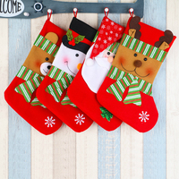 4pcs Lot Cute Christmas Sock Santa Claus Sock Gift Bag Kid Xmas Noel Decoration Candy Bag