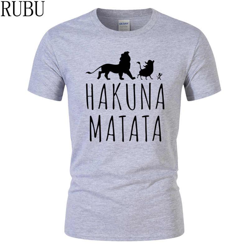 9f2c5da4 RUBU brand Summer 100% Cotton T-Shirts HAKUNA MATATA Men's Big Size T Shirts