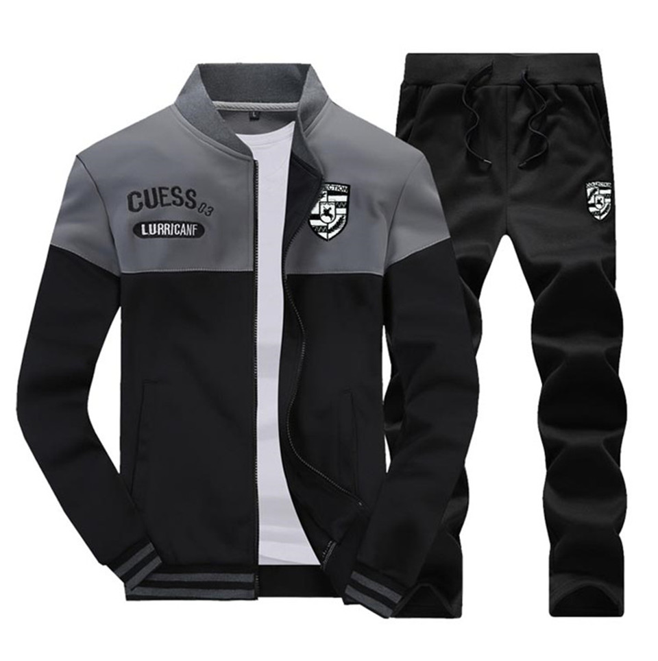 Riinr Brand New Men Sets Fashion Autumn Spring Sporting Suit Sweatshirt +Sweatpants Mens Clothing 2 Pieces Sets Slim Tracksuit 7