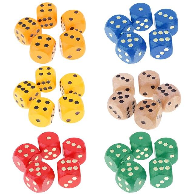 5 pedaço 3 cm Madeira D6 6 Lados Pontilhado Dice para D & D Dados TRPG DND Mesa Brinquedo MTG jogos de cartas