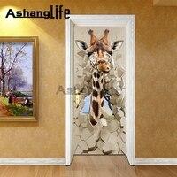 3D door de muur giraffe Driedimensionale woonkamer slaapkamer deur Decoratieve creativiteit 2 stuks geladen