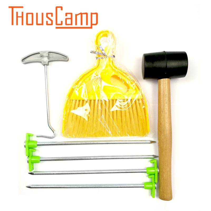 Outdoor Wooden Handle Rubber Hammer Camping Tools Mini Sweep Cleaning Brush Small Broom Tent Pegs Stakes Hook A SET/Pack