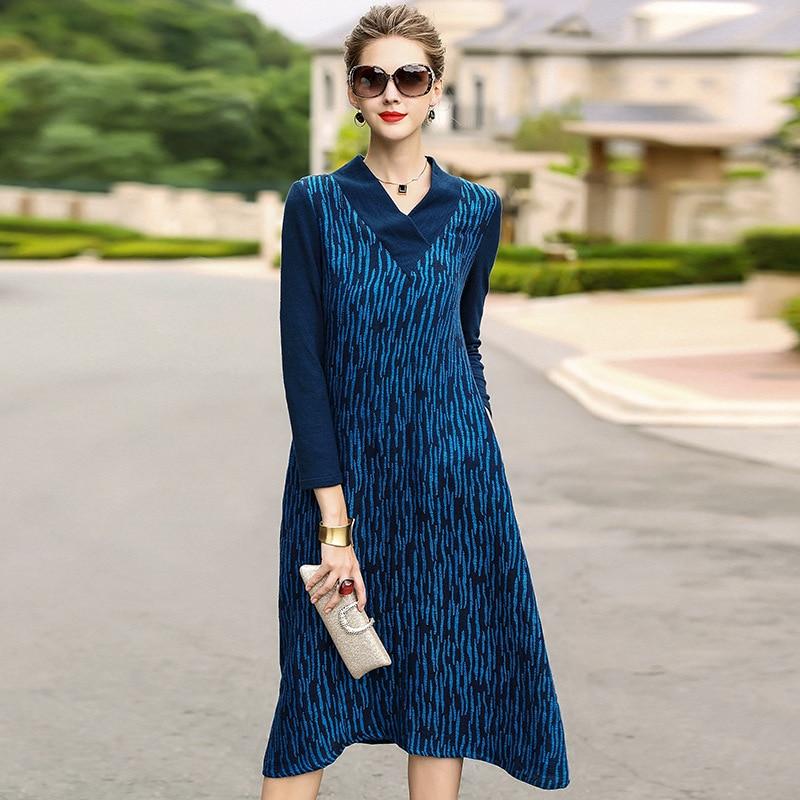 Femmes lin robe grande taille 2018 automne nouvelles femmes mode col en V lâche décontracté bleu robe M-XXXL en gros livraison gratuite