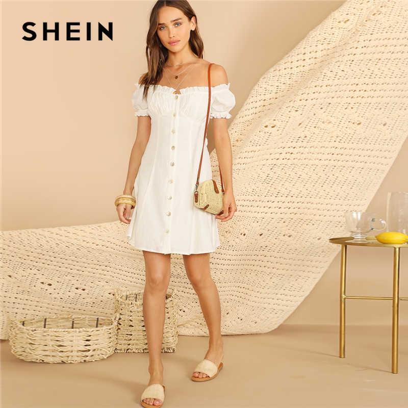 SHEIN белое платье на пуговицах спереди с пышными рукавами и открытыми плечами женское летнее платье с высокой талией ТРАПЕЦИЕВИДНОЕ повседневное богемное платье