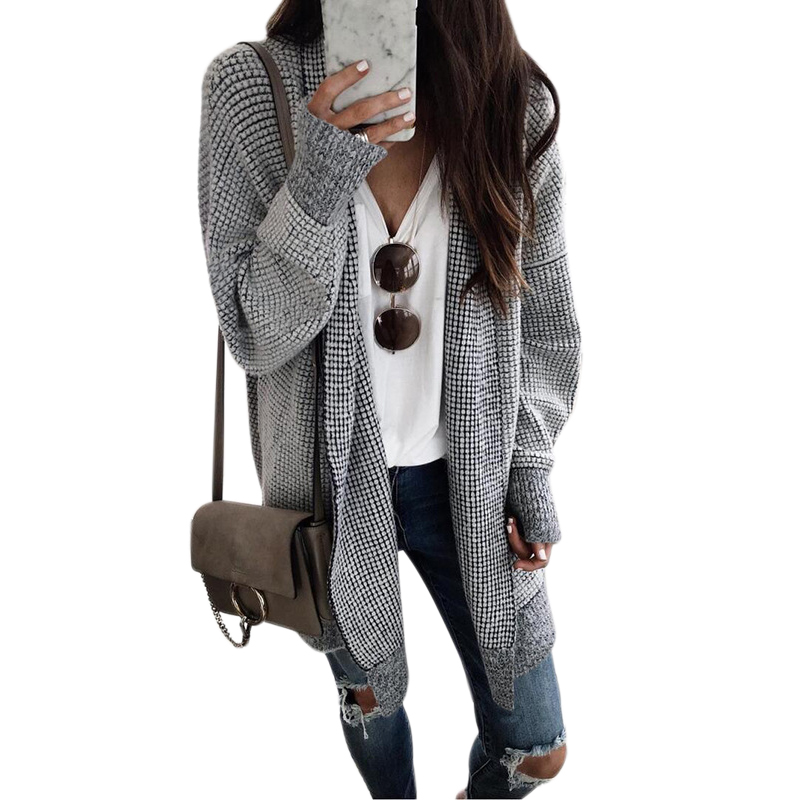 Women Fashion Check Long Cardigan Coat Jacket Ladies Casual Autumn Long Sleeve Coat Outwear Women Tops Black and white grid 2