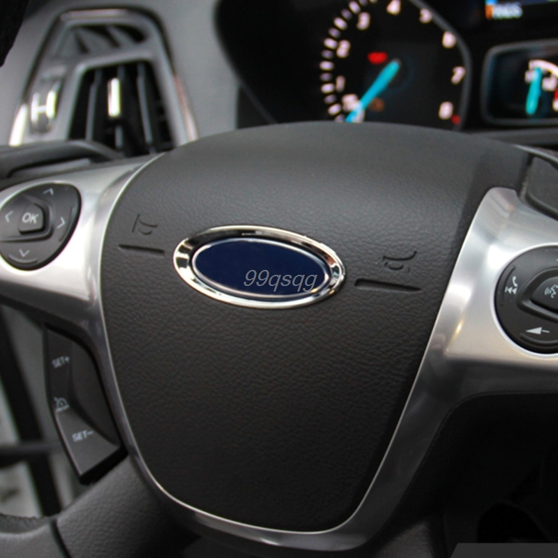 3D Creative Chrome Steering Wheel Sticker For Ford Fiesta Ecosport Kuga Escape Focus Mondeo New Drop shipping