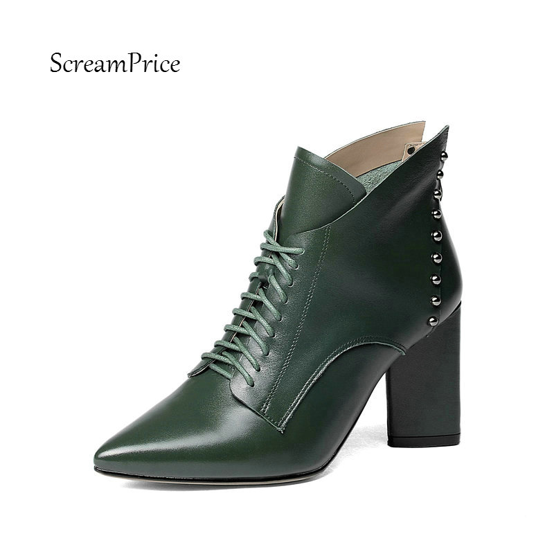 Women Genuine Leather Lace Up Comfortable Square Heel Ankle Boots Fashion Pointed Toe Winter Shoes Black Green front lace up casual ankle boots autumn vintage brown new booties flat genuine leather suede shoes round toe fall female fashion