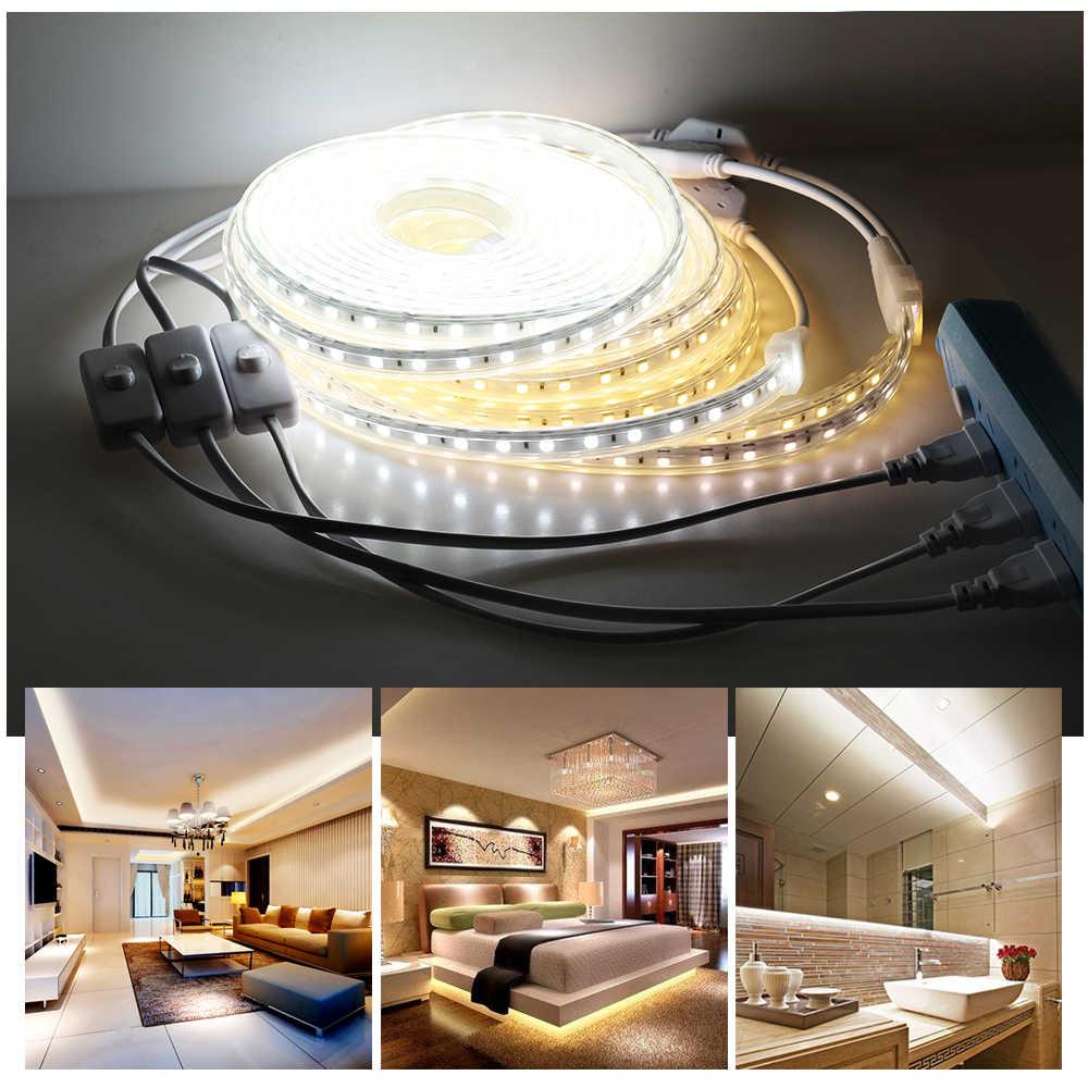 Светодиодная лента AC220V 5050 водонепроницаемый гибкий светодиодный свет лента 1 м провод с переключателем Высокая безопасность светодиодные ленты s для наружной отделки лампы