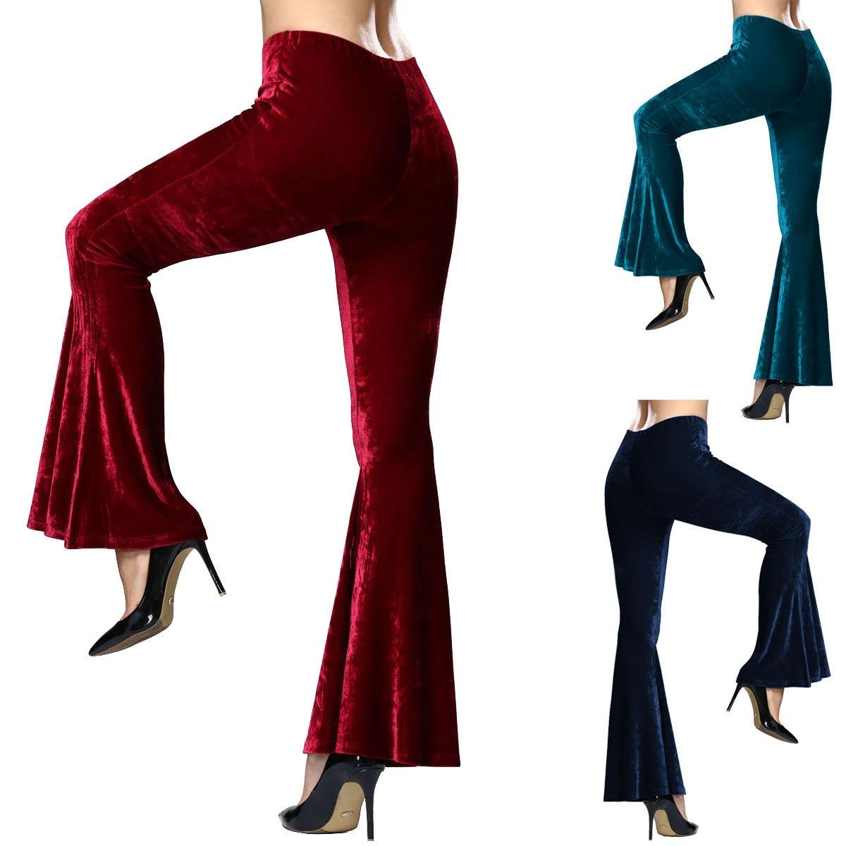 Women Velvet Bell Bottom High Waist Flared Basic Pants Flare Casual  Wide Leg Solid Plus
