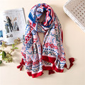 2017 Spring High Quality Soft Cotton Women Long TasselNational wind retro print wild Scarf Slim elegant female Thin beach Shawls