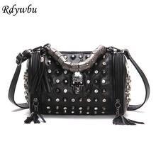 DIINOVIVO Rock Skull Handbag Women Leather Rivet Punk Handle Designer Shoulder Bags Tassels Messenger Travel Bag Female WHDV1209