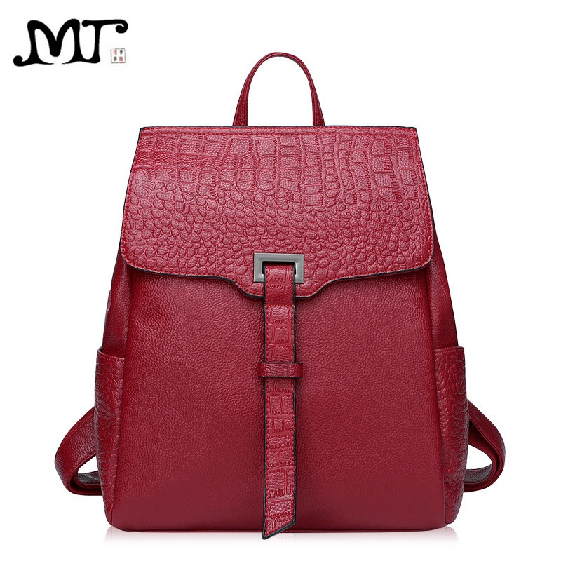 MJ Brand Design Women Backpacks Fashion Alligator Genuine Leather Female Backpack Casual High Quality Cow Leather Travel Bag nucelle brand new design fashion drawstring gemstone lock zipper cow leather casual women lady backpacks shoulders school bag
