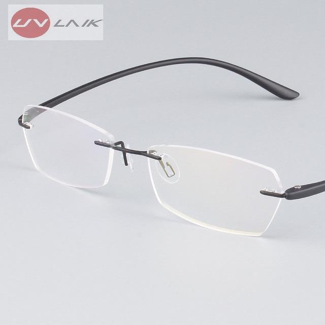 29a65c57e2117 UVLAIK Clássico Mens Armações De Óculos Para Miopia Frame Ótico Sem Aro de Titânio  Ultra-