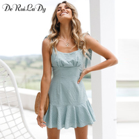 DeRuiLaDy Sexy Backless Plaid Summer Mini Dress Women Square Collar Beach Dresses Casual Sling Red Short