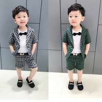 British Style Suit Kids Clothes Set Summer Formal Suit Gentleman Tuxedo Suits Short Sleeve Plaid Blazer + Shorts 2pcs Party Show