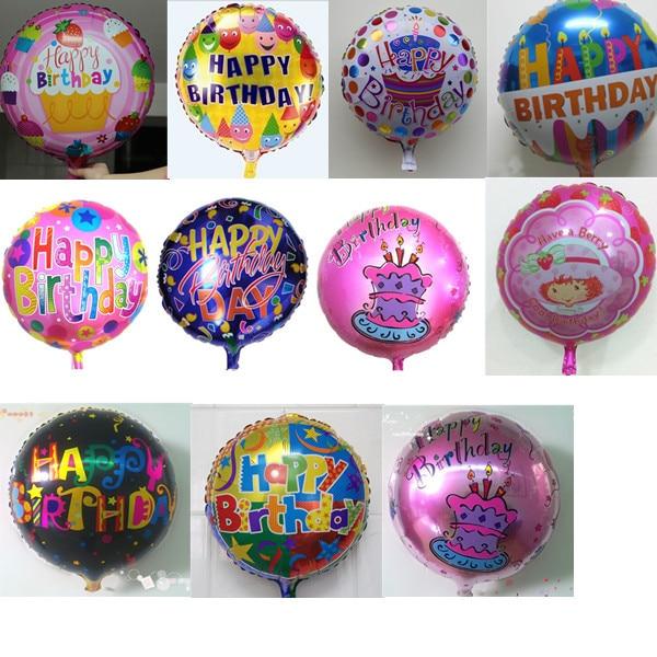 hot 20pcs18inch round helium balloon party foil balloon baby happy birthday Aluminum birthday balloon for Party Decoration