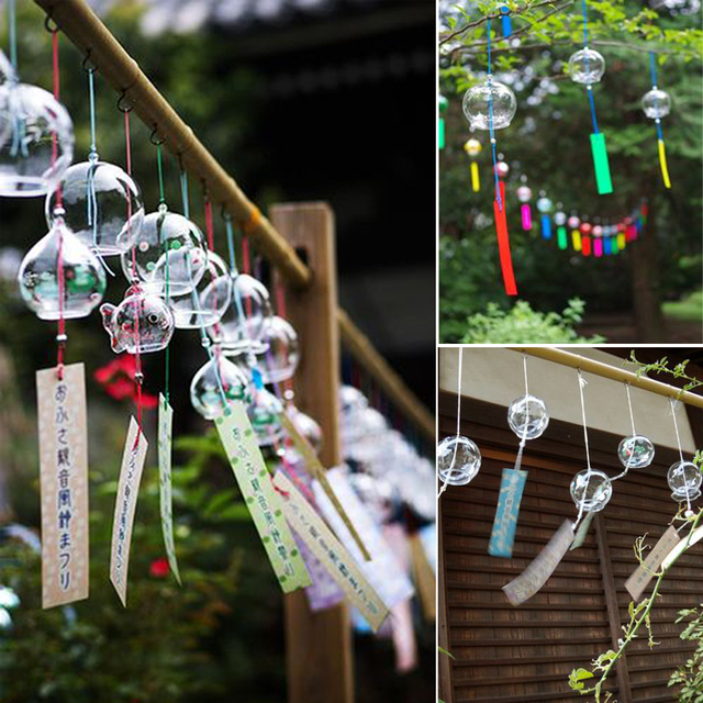 10pcs japanese wind chimes furin for festival outdoor hanging decorations home garden hanging decor diy - Garden Hanging Decorations