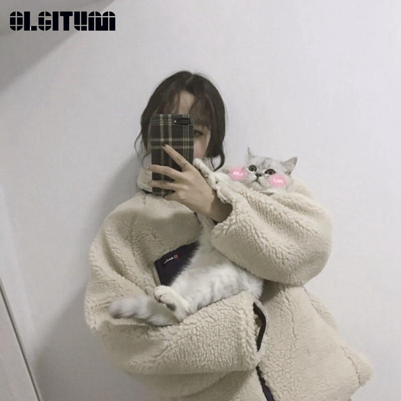 Winter/Autumn New Chic Loose Zipper Pocket Thick Lamb Fur Cotton Coat Female Winter Jacket Warm Mujer Casaco