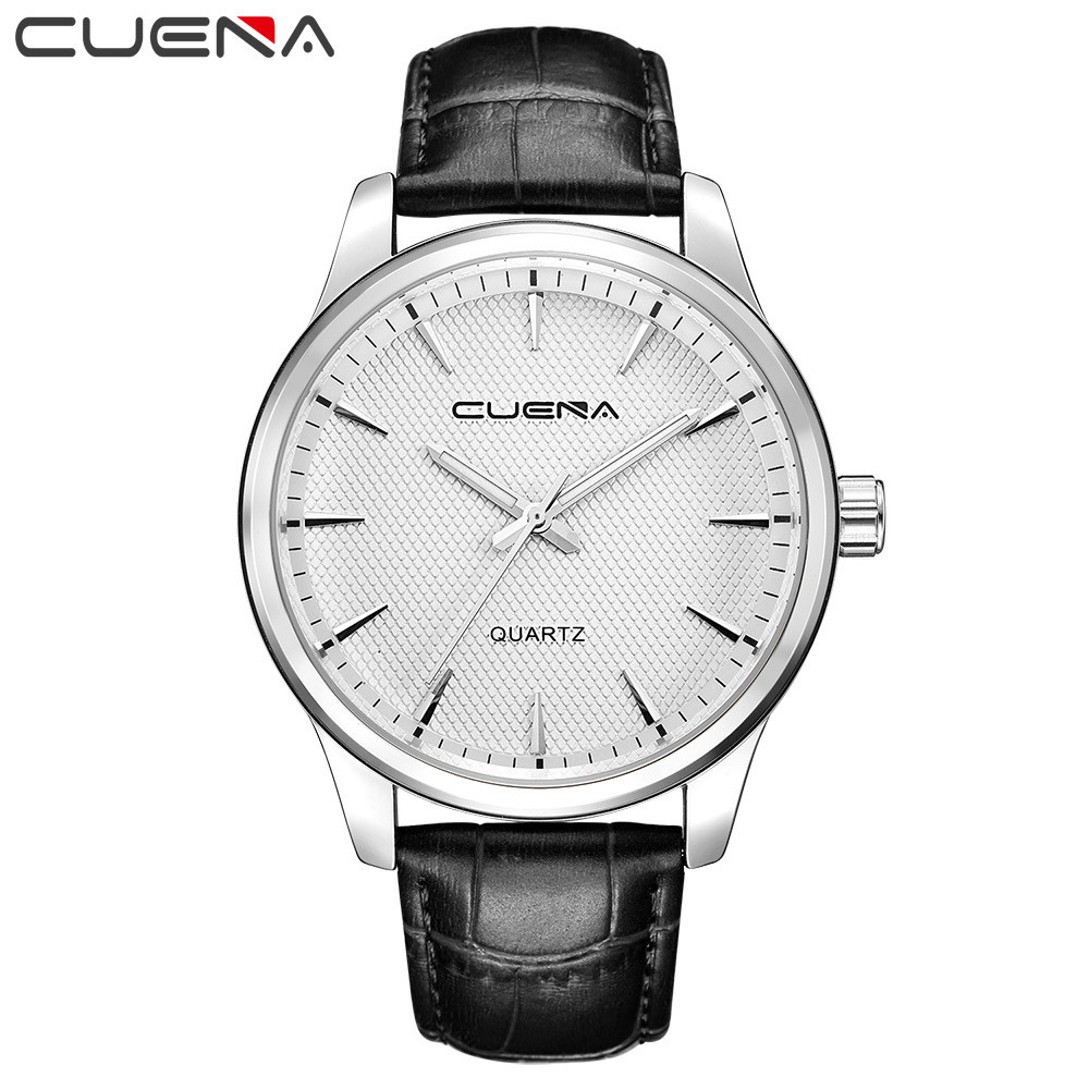2018 CUENA Men watches Fashion Man Casual Checkers Faux Leather Quartz Analog High Quality Wrist Watch relogio masculino saat cocoshine a 693 high quality luxury men s watches analog quartz faux leather sport wrist dress watch wholesale free shipping