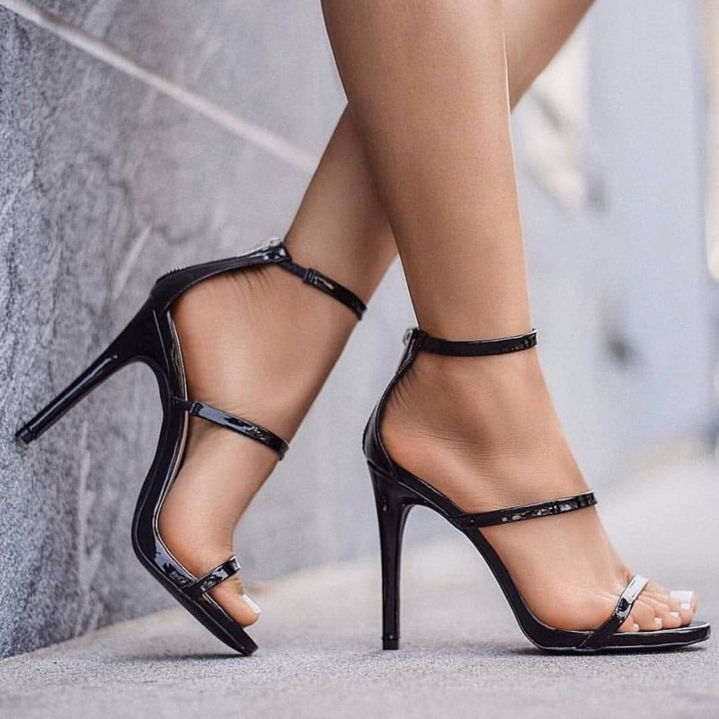 Spillo Caviglia Sera Di Scarpe Gladiatore Classico Alla Femminile Cinturino Sandali Pelle In Da Tacco A Black Estate Alto Donna EFSTqzw