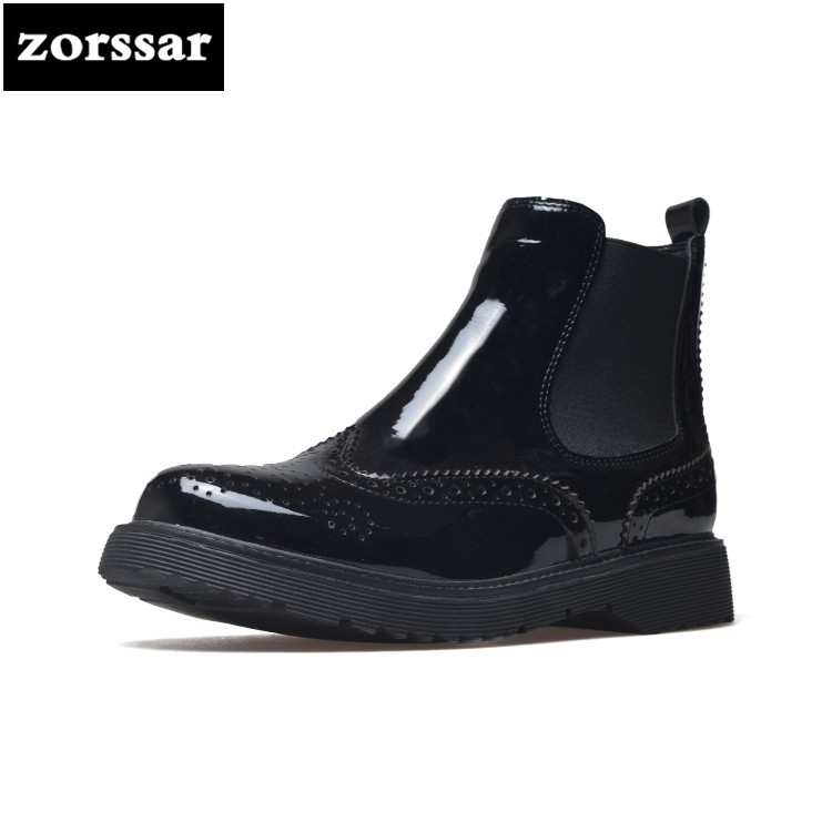 {Zorssar} Genuine Leather flat ankle boots women Martin boots 2018 winter warm shoes womens Chelsea boots botas mujer invierno pathfind women genuine leather ankle boots zapatos mujer handmade martin timber shoes tooling 2018 womens outdoor western botas