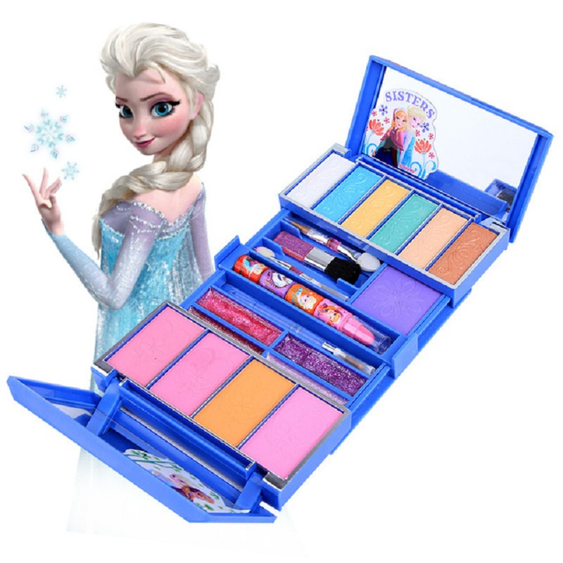 Disney Frozen Safety Non-toxic Lipstick Set Cosmetic Makeup Girls Toys Performance  Makeup Box Toy Kids Makeup Birthday Gift