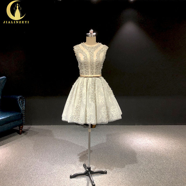 הריין אמיתי תמונות גריי חרוזים קריסטל סקסי סירת צוואר אופנה מפלגת שמלות שמלות נשף 2019