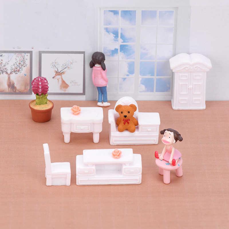 ZOCDOU 2 Peças Sofá Cama Resto Assento Pequeno Modelo Mobiliário Sofá Sala de estar Artesanato Estatueta Miniatures Figura Ornamento Decoração