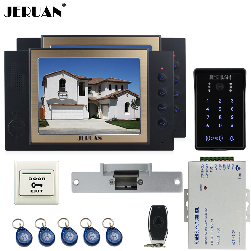 JERUAN New RFID waterproof Touch Key password keypad Camera Home Wired 8`` TFT video door phone Record intercom system kit 1V2 цена
