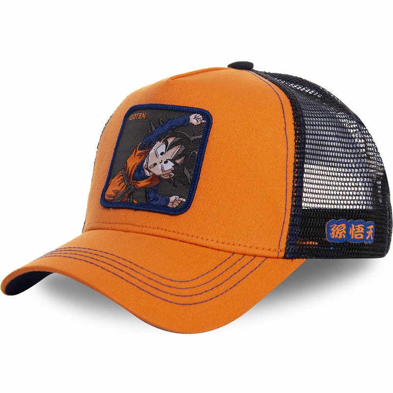 New Dragon Ball Mesh Hat Anime Goten Baseball Cap High Quality Curved Brim Orange Snapback Cap Gorras Casquette Dropshipping